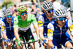 Green Jersey Marcel Kittel (GER) and his Quick-Step Floors team in action during Stage 3 of the 104th edition of the Tour de France 2017, running 212.5km from Verviers, Belgium to Longwy, France. 3rd July 2017.<br /> Picture: ASO/P.Ballet | Cyclefile<br /> <br /> All photos usage must carry mandatory copyright credit (&copy; Cyclefile | ASO/P.Ballet)