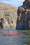 Howie Wallace Paddles Necky Looksha IV kayak on John Day River at RM 96.5.Clarno to Cottonwood section.  Basalt cliffs in background.  National Wild & Scenic River