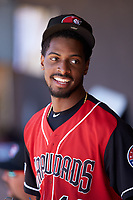 Tyree Thompson (14) of the Hickory Crawdads during the game against the Charleston RiverDogs at L.P. Frans Stadium on May 13, 2019 in Hickory, North Carolina. The Crawdads defeated the RiverDogs 7-5. (Brian Westerholt/Four Seam Images)