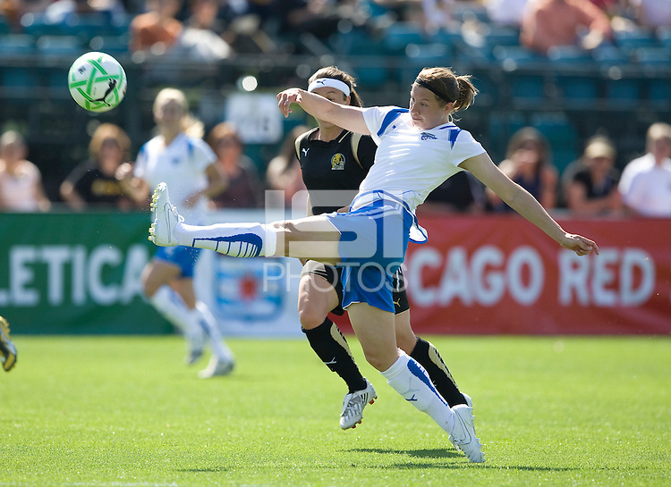 Amy LePeilbet kicks the ball. FC Gold Pride defeated the Boston Breakers 2-1 at Buck Shaw Stadium in Santa Clara, California on April 5th, 2009.