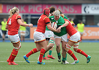 No way through for Ireland's Ilse Van Staden<br /> <br /> Photographer Ian Cook/CameraSport<br /> <br /> Women's Six Nations Round 4 - Wales Women v Ireland Women - Saturday 11th March 2017 - Cardiff Arms Park - Cardiff<br /> <br /> World Copyright &copy; 2017 CameraSport. All rights reserved. 43 Linden Ave. Countesthorpe. Leicester. England. LE8 5PG - Tel: +44 (0) 116 277 4147 - admin@camerasport.com - www.camerasport.com
