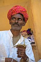 Snake Charmer at the Amber Fort Jaipur, Rajasthan India