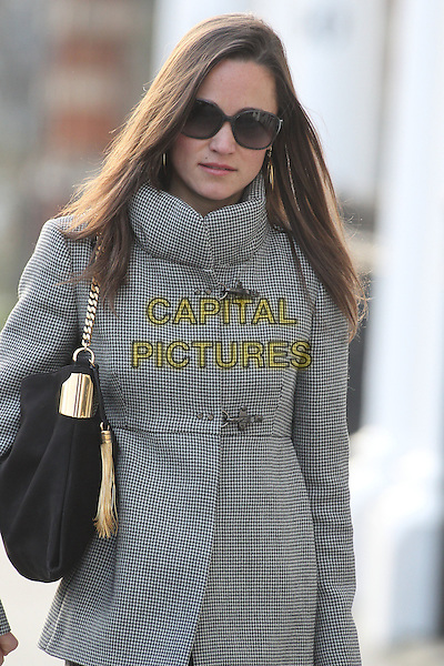 Pippa Middleton arrives for work, London, England..January 17th, 2012.half length grey gray jacket bag purse sunglasses shades.CAP/HIL.©John Hillcoat/Capital Pictures .