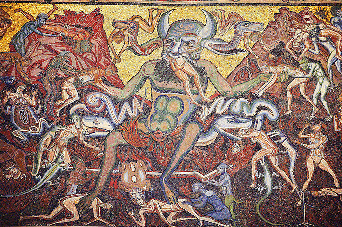 The Medieval mosaics of the ceiling of The Baptistry of Florence Duomo ( Battistero di San Giovanni ) showing the Devil in scenes from the Last Judgement Day started in 1225 by Venetian craftsmen in a Byzantine style and completed in the 14th century. Florence Italy