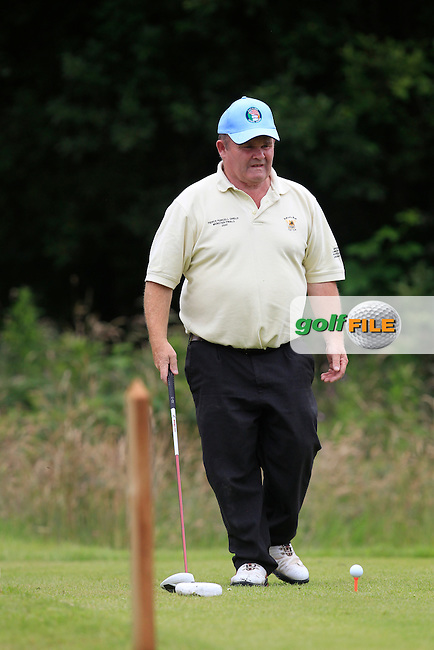 Billy Neville (Newcastle West) on the 14th tee during the Final round of the Munster section of the AIG Pierce Purcell Shield at East Clare Golf Club on Sunday 19th July 2015.<br /> Picture:  Golffile   Thos Caffrey