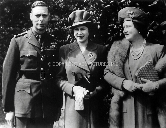 *** USA SYNDICATION RIGHTS ONLY ***..    ..Queen Elizabeth, The Queen Mother (right) with her husband, King George VI (left) and their daughter, Princess Elizabeth (Queen Elizabeth II). April 1944. REF: PPGR2087. Please byline: NY Photo Press.   ..*PAY-PER-USE*      ....NY Photo Press:  ..phone (646) 267-6913;   ..e-mail: info@nyphotopress.com