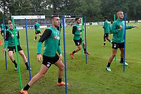 NORG - Voetbal, Trainingskamp FC Groningen, voorbereiding seizoen 2018-2019, 10-07-2018,  FC Groningen speler Mimoun Mahi en FC Groningen speler Jesper Drost