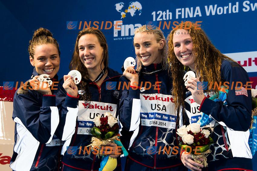 USA Silver Medal<br /> Women's 4x100m Freestyle Final<br /> Doha Qatar 05-12-2014 Hamad Aquatic Centre, 12th FINA World Swimming Championships (25m). Nuoto Campionati mondiali di nuoto in vasca corta.<br /> Photo Giorgio Scala/Deepbluemedia/Insidefoto