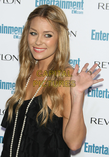 LAUREN CONRAD .6th Annual Entertainment Weekly Pre-Emmy Awards Party.at the Beverly Hills Post Office, Beverly Hills, CA, USA, September 20th 2008..half length black dress  necklace hands touching hair hand waving .CAP/LNC/TOM.©LNC/Capital Pictures