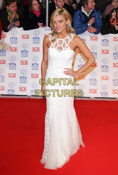 Ashley Roberts.At the National Television Awards 2013, O2 Arena, London, England, UK, .January 23rd 2013..NTA NTAs full length white dress hand on hip sleeveless long maxi .CAP/ROS.©Steve Ross/Capital Pictures