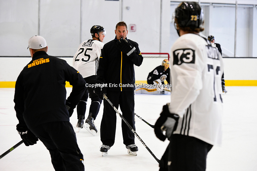 September 15, 2017: Boston Bruins head coach Bruce Cassidy runs a drill during the Boston Bruins training camp held at Warrior Ice Arena in Brighton, Massachusetts. Eric Canha/CSM