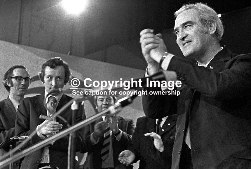 Brendan Corish, leader of the Irish Labour Party, Rep of Ireland, speaking at his party's annual conference. He was Tanaiste, Deputy Prime Minister, from 1973 to 1977 in the Fine Gael/Labour Party coalition. 197302000128c.<br />