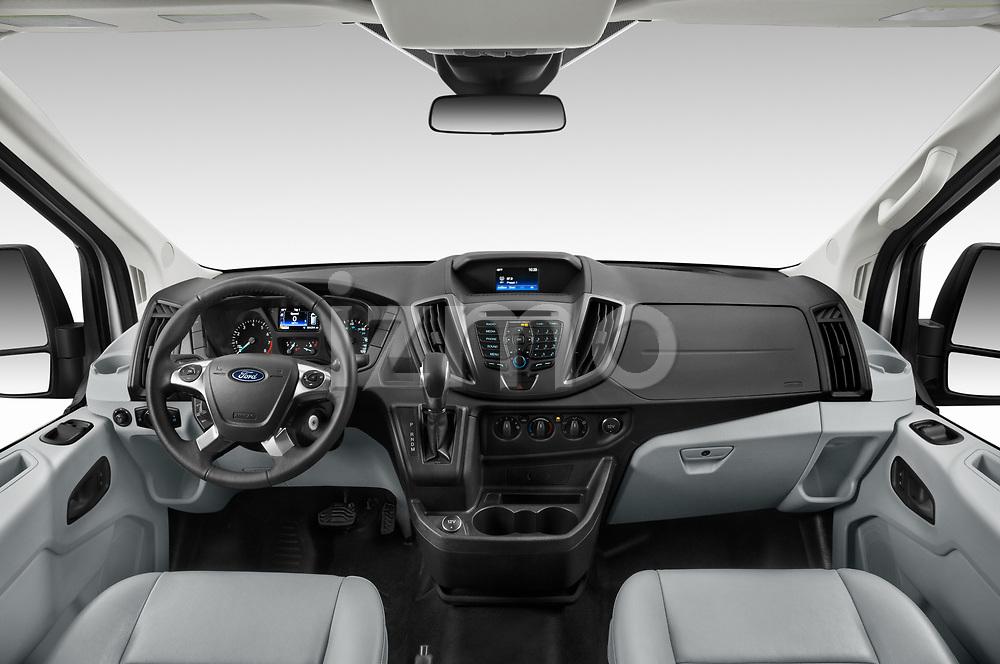 Stock photo of straight dashboard view of 2019 Ford Transit-Van - 4 Door Cargo Van Dashboard