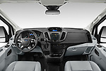 Stock photo of straight dashboard view of 2019 Ford Transit-Van - 4 Door Cargo Van Dashboard