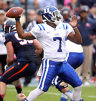 Duke defeated Virginia 35-22 at Scott Stadium in Charlottesville, VA. . Photo/Andrew Shurtleff Duke quarterback Anthony Boone (7)