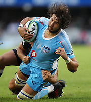 DURBAN, SOUTH AFRICA - APRIL 14: Lood de Jager of the Vodacom Blue Bulls during the Super Rugby match between Cell C Sharks and Vodacom Bulls at Jonsson Kings Park Stadium on April 14, 2018 in Durban, South Africa. Photo: Steve Haag / stevehaagsports.com