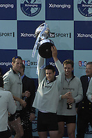 London, GREAT BRITAIN,   2007 Cambridge President Tom JAMES holds the Boat Race Trophy aloft . Sat. April 7th. England [Photo Peter Spurrier/Intersport Images] Varsity Boat Race, Rowing Course: River Thames, Championship course, Putney to Mortlake 4.25 Miles,