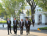 USA Bid Committee for the 2018 or 2022 FIFA World Cup from right to left  Danny Jordan (CEO of 2010 FIFA World Cup Organizing Committee) Sunil Gulati (Chairman of USA Bid Committee) Harold Mayne-Nicholls (Head of FIFA Inspection)  at the White House, Wednesday  September 8, 2010.