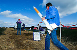 Rocketeers at a rocket launch at an amateur rocket festival..Manchester, Tennessee.