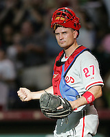 Phillies catcher Chris Coste on Saturday May 24th at Minute Maid Park in Houston, Texas. Photo by Andrew Woolley / Four Seam Images.