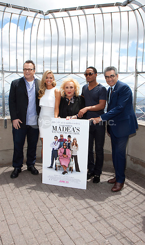 Tom Arnold, Denise Richards, Doris Roberts, Romeo Miller and Eugene Levy at the Empire State Building for TYLER PERRY'S MADEA'S WITNESS PROTECTION in New York City.   June 26, 2012 © Laura Trevino/Media Punch Inc.