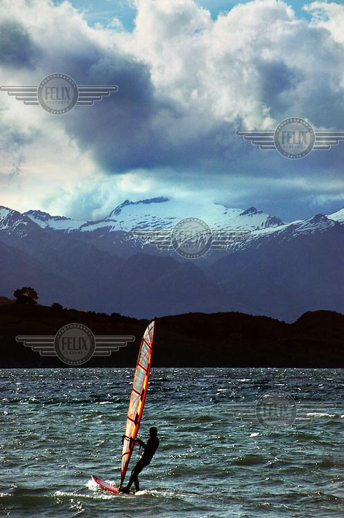 Windsurfer on Lake Wanaka.