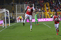 BOGOTA -COLOMBIA, 8-10-2016.Jonathan Gómez jugador de Independiente Santa Fe   celebra su gol contra  Jaguares FC  durante encuentro  por la fecha 15 de la Liga Aguila II 2016 disputado en el estadio Metropolitano de Techo./Jonathan Gómezplayer of Santa Fe  celebrates his goal against  of  Jaguares FC during match for the date 15 of the Aguila League II 2016 played at Metropolitano de Techo stadium . Photo:VizzorImage / Felipe Caicedo  / Staff