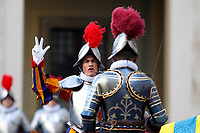 Cerimonia del Giuramento delle Guardie Svizzere nel Cortile di San Damaso, Citta' del Vaticano, 6 maggio 2017.<br /> Pontifical Swiss Guards attend the swearing-in during a ceremony at the San Damaso courtyard, Vatican, 6 May 2017.<br /> UPDATE IMAGES PRESS/Riccardo De Luca<br /> <br /> STRICTLY ONLY FOR EDITORIAL USE