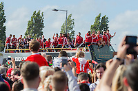 The open top bus of players arrives at Cardiff City Stadium during the Homecoming of the Wales Euro 2016 Squad, Cardiff. 8 July 2016. Photo by Mark  Hawkins / PRiME Media Images.