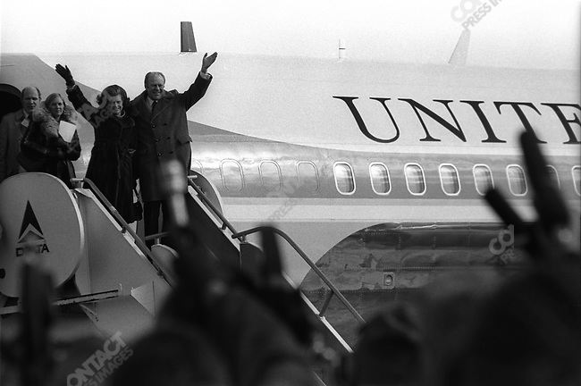 United States President Gerald Ford and wife Betty greet well-wishers, New Hampshire, February 1976