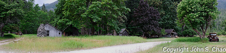 Panorama of Historic Buckner Farm Buildings in Stehekin, North Cascades National Park, Washington State