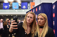 New York, NY - Thursday February 02, 2017: Samantha Mewis, Kristie Mewis during a joint NWSL and A+E Networks press conference at the A+E headquarters.