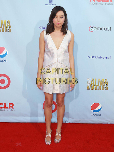 Aubrey Plaza.2012 NCLR ALMA Awards - arrivals, held at The Pasadena Civic Auditorium, Pasadena, California USA..16th September 2012.full length white sleeveless dress.CAP/ADM/KB.©Kevan Brooks/AdMedia/Capital Pictures.