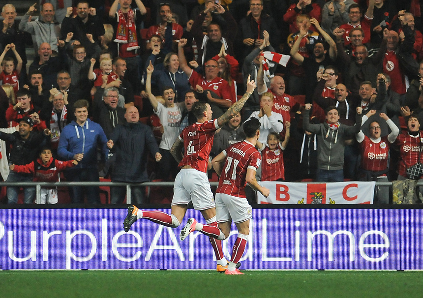 Bristol City's Aden Flint celebrates scoring his side's second goal<br /> <br /> Photographer Ian Cook/CameraSport<br /> <br /> The EFL Sky Bet Championship - Bristol City v Bolton Wanderers - Tuesday 26th September 2017 - Ashton Gate Stadium - Bristol<br /> <br /> World Copyright &copy; 2017 CameraSport. All rights reserved. 43 Linden Ave. Countesthorpe. Leicester. England. LE8 5PG - Tel: +44 (0) 116 277 4147 - admin@camerasport.com - www.camerasport.com