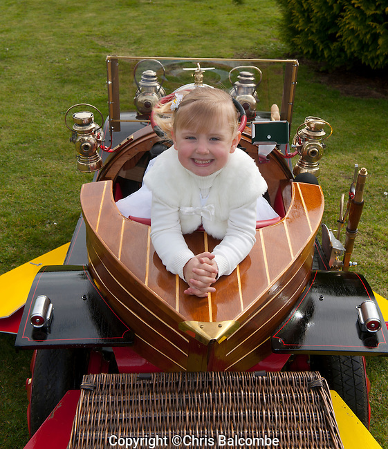 Mini Chitty Bang Fan! Three-year-old Indiya Tasker drives a miniature Chitty Chitty Bang Bang car - a special birthday present built by her grandparents.<br />