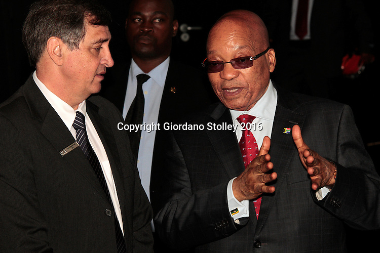 DURBAN - 24 May 2016 - South African president Jacob Zuma (right) chats to Johan van Zyl, chairman of Toyota in South Africa, following a presentation during the official launch by Toyota of its new Hilux and Fortuner ranges at its plant in Durban. Picture: Allied Picture Press (APP)
