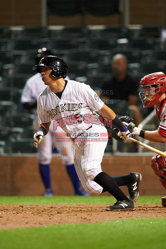 Salt River Rafters catcher Chris Rabago (5) at bat during an Arizona Fall League game against the Glendale Desert Dogs on October 23, 2015 at Salt River Fields at Talking Stick in Scottsdale, Arizona.  Glendale defeated Salt River 7-5.  (Mike Janes/Four Seam Images)
