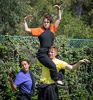 Celebrating their 22nd year, the Occidental Children's Theater presents Dracula and the Beanstalk, conceived by Jamie Angell and directed by Tristan Waldron '12. Featuring: Doyin Domingo '17 (in green shirt), Greg Feiner '18 (in yellow shirt), Dyoni Isom '19 (in purple shirt), Jonathan Padron '14 (in red shirt), Billy Schmidt '17 (in blue shirt), and Amanda Wagner '16 (in orange shirt). Performances are in the Remsen Bird Hillside Theater. Photo taken July 5, 2017.<br /> (Photo by Marc Campos, Occidental College Photographer)