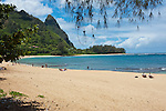 Tunnels Beach, great for snorkeling, on the North side of the island, Kauai, Hawaii