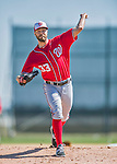 25 February 2016: Washington Nationals pitcher Matt Grace throws during the first full squad Spring Training workout at Space Coast Stadium in Viera, Florida. Mandatory Credit: Ed Wolfstein Photo *** RAW (NEF) Image File Available ***