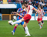 Action during the match at Levante U.D. 1 - 0 Almeria C.F. in BBVA League match played at the Ciudad de Valencia stadium (Valencia). Scoreboard: Barral for Levante. (photo: Francesc Juan)
