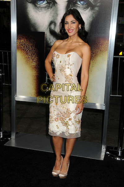"CARLA ORTIZ.""The Rite"" Los Angeles Premiere held at Grauman's Chinese Theatre, Hollywood, California, USA..January 26th, 2011.full length white beige strapless dress hand on hip floral print .CAP/ADM/BP.©Byron Purvis/AdMedia/Capital Pictures."