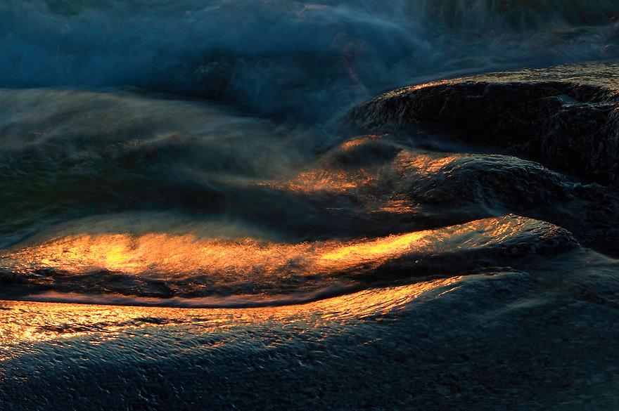 Waves at sunset.<br /> Kallsk&auml;r, Stockholm Archipelago, Sweden