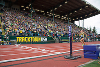 With the Roesler family cheering wildly in their neon green shirts in the stands, North Dakota native and University of Oregon senior Laura Roseler sprints to victory in dominating fashion in the 800-meters at the 2014 NCAA Division I Outdoor Track and Field Championships, in Eugene, Or. Friday, June 13.