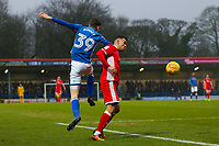 Rochdale's Joe Bunney (left) and Walsall's Zeli Ismail (right during the Sky Bet League 1 match between Rochdale and Walsall at Spotland Stadium, Rochdale, England on 23 December 2017. Photo by Juel Miah / PRiME Media Images.