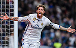 Sergio Ramos of Real Madrid celebrates after scoring during their La Liga match between Real Madrid and Real Betis at the Santiago Bernabeu Stadium on 12 March 2017 in Madrid, Spain. Photo by Diego Gonzalez Souto / Power Sport Images