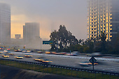 Stock photo of Orange County California freeway through Irvine at morning light