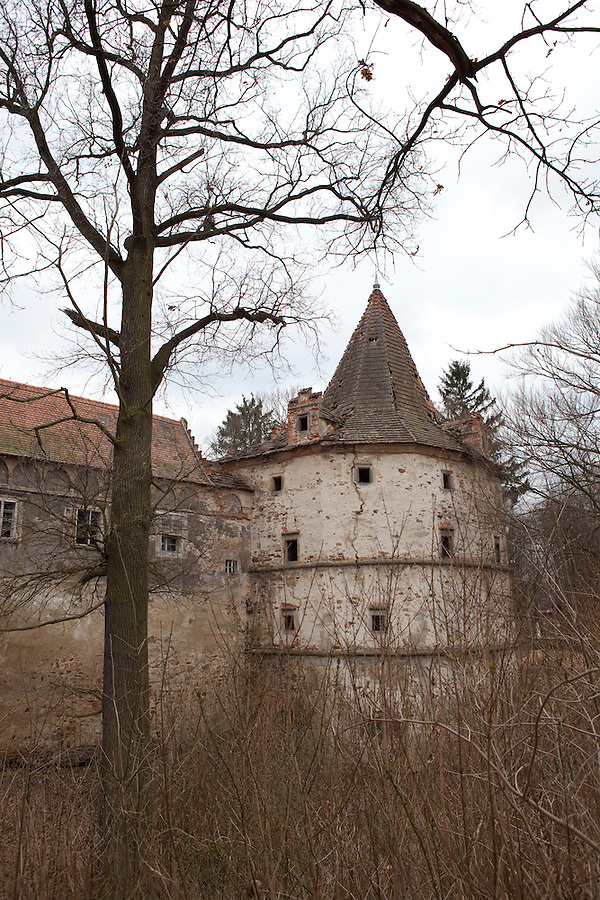 Červené Řečice, a rural village in southern Bohemia with a chateau ruin run by the Catholic Church, Czech Republic, Europe