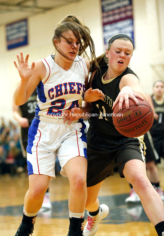 Woodbury, CT- 19 January 2016-011916CM09-  Gabby Hurlbert (11) and Nonnwaug's Alex Eanniello go after the ball during their Berkshire League matchup in Woodbury on Tuesday.   Thomaston would go onto win, 56-36.    Christopher Massa Republican-American