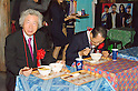 "September 17, 2011 : Yokohama, Japan - Former Prime Minister, Junichiro Koizumi, tries 2 kinds of noodles during the grand opening of the Nissin Cup Noodles Museum. Visitors can learn about the history of the Cup Noodles product and partake in a session to make their own homemade instant ramen noodles at the museum's ""Chikin Noodle Factory"". The museum's art director, Kashiwa Sato, is also in charge of graphic design for the massive Japanese clothes retailer Uniqlo. (Photo by Yumeto Yamazaki/AFLO)"